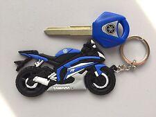 99-14 YAMAHA Blank Key & Keychain R6  Set. YZF R1 R6 FZ6S FZ1 XJR 400 1300. Blue