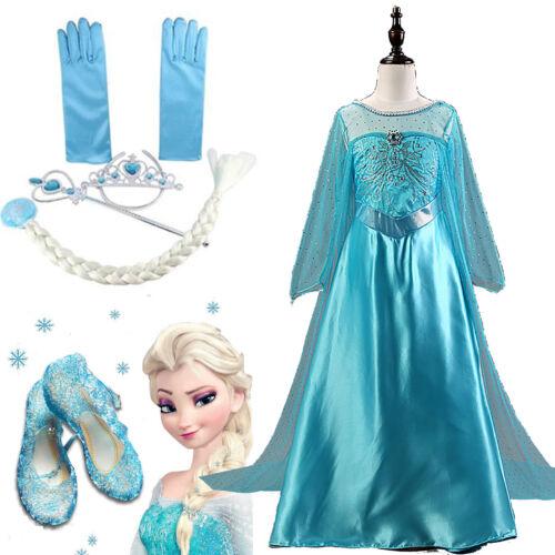 Eiskönigin Frozen Elsa Kleid Mädchen Kinder Cos Kostüm Karneval Anna Sandalen DE