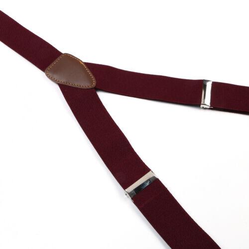 Chaud Rouge Réglable Bouton Trous Unisexe Bretelles Solide Femme Bretelles BD704