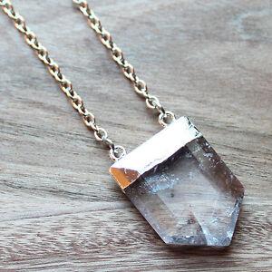 Silver-Semi-Precious-Natural-Faceted-Clear-Quartz-Arrow-Gemstone-Pendant