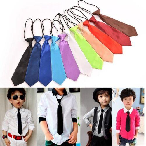 Boy Tie Kids Baby School Boy Wedding Necktie Neck Tie Elastic Solid 11 Colors KH
