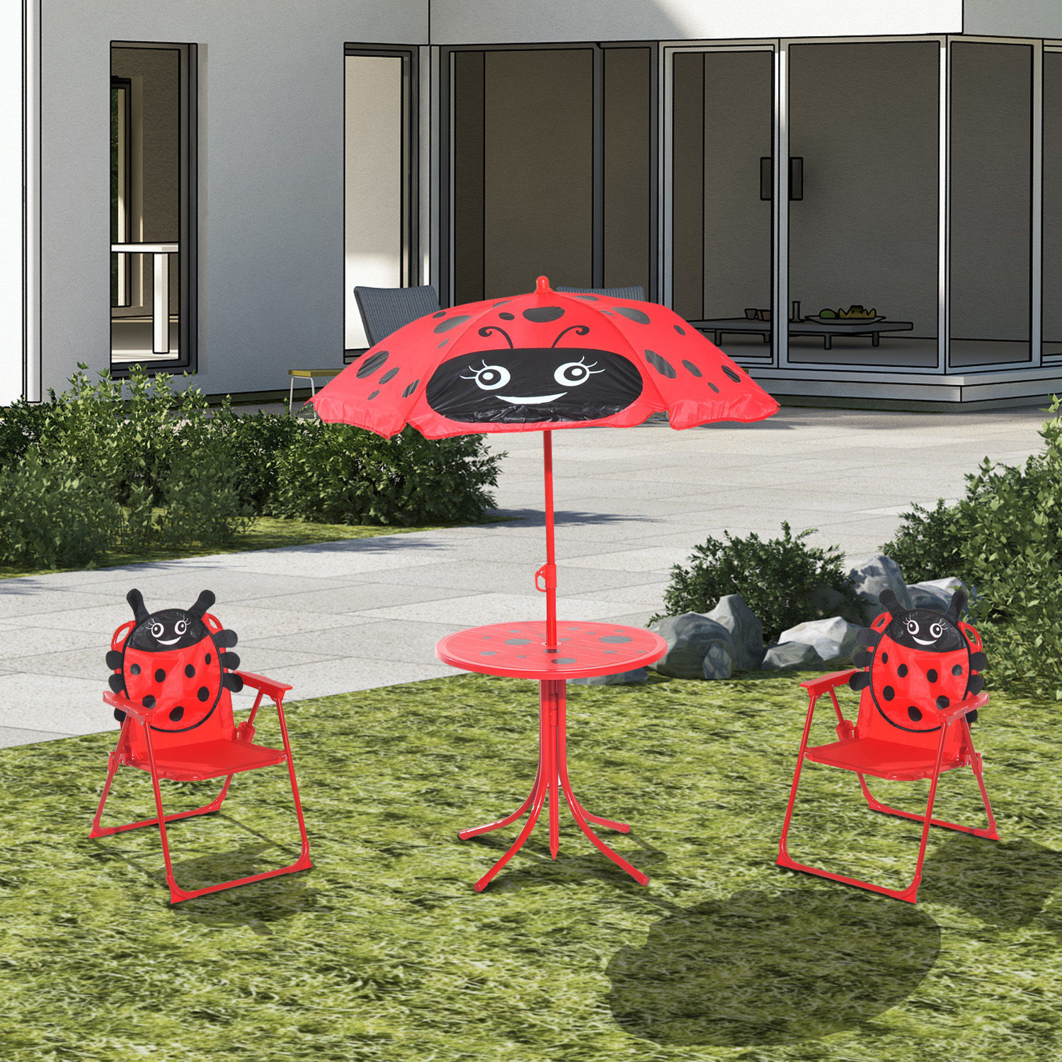 HOMCOM Kids Garden Picnic Table Chair With UV Umbrella Foldable Patio Set Lady