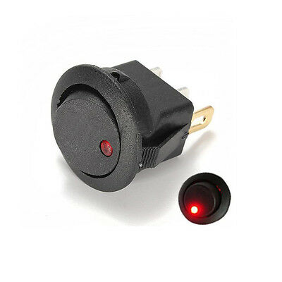 LED Dot Light Round Rocker ON/OFF Toggle SPST Switch 12V For Car Boat Home