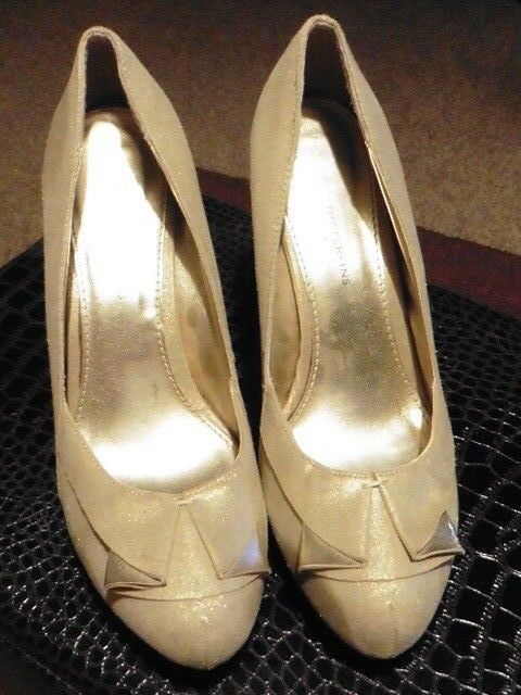 Dgoldthy Perkins 4.5  Heels gold Art Nouveau Style shoes Size 7