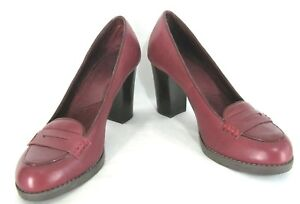 Bass-Shoes-7-5M-Red-Leather-Pumps-Penny-Loafer-Chunk-Heels-Kaylin-7-5-M-Womens