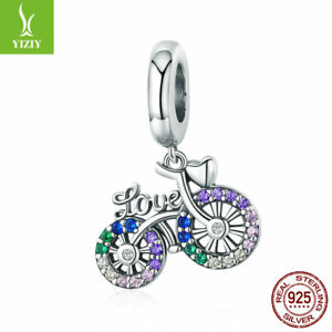 Authentic-925-Sterling-Silver-Colorful-Bike-Charm-Pendant-Fit-925-Bracelet-Chain