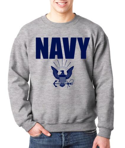 NAVY CREW NECK GRAY Military Hooded Sweatshirt Blend Seal US U.S.NAVY USNAVY USA
