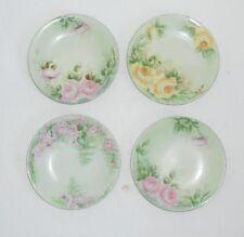 4 Hand Painted Dessert Plates Marked J P L France Floral Gilt edges Signed