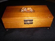 Vintage Satin (Walnut?)Wood Music Box With Ceramic Dog