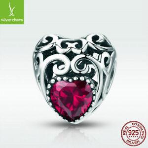 925-Sterling-Silver-Ruby-Charm-Bead-July-Birthstone-Fit-Chain-Birthday-Present