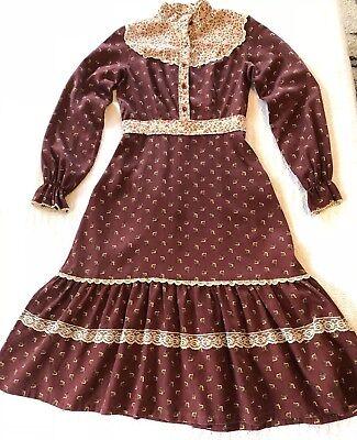 Vintage 70s maxi dress in floral print prairie boho off the shoulder