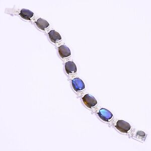 925-Solid-Sterling-Silver-Charming-Best-Quality-Labradorite-Bracelet-with-034-7-00-034
