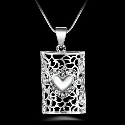 New Women Men Silver Crystal Heart Pendant Necklace Chain Jewelry