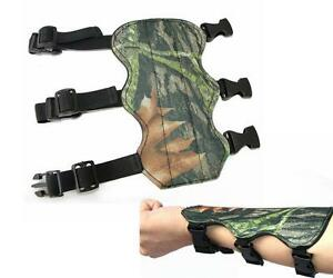 Archery Bow Arm Guard Protection canvas Forearm Safe 3-Strap Camo Leather V!