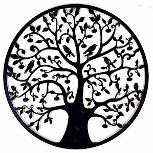 black tree of life metal hanging wall art 80 cm round hanging sculpture garden ebay. Black Bedroom Furniture Sets. Home Design Ideas