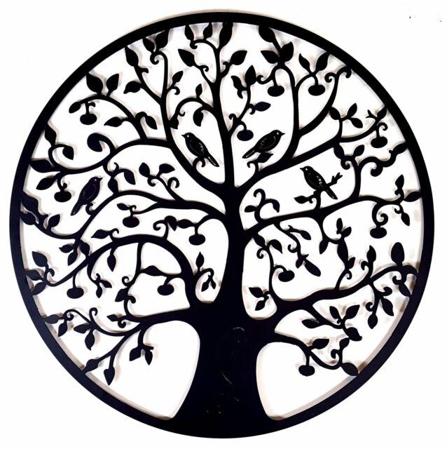 Black Tree of Life Metal Hanging Wall Art *80 cm* Round Hanging Sculpture Garden
