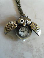 Owl Necklace Watch White Easy To Read Dial Unique Style Nice Gift