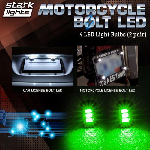 GREEN 4PCS Motorcycle Screw 3-SMD LED Bolt Lamp Car License Plate Light C