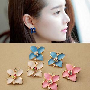 Vintage-Ladies-Girls-Enamel-Flower-Earrings-Crystal-Rhinestone-Ear-Studs-Jewelry