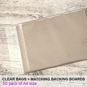 A4-50-pack-Clear-Cello-Reseal-Bags-Sleeves-Matching-Backing-Boards-700gsm
