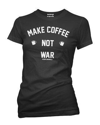Nuova Con Etichetta Donna Aesop Originals Make Caffè Not Guerra Maglietta Nero