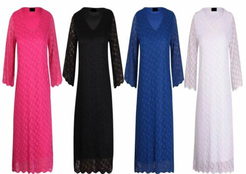 Womens Plus Size Floral Lace Bottom 3//4 Sleeve Scallop Edge V Neck Party Dress