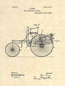 Mercedes-Benz-FIRST-Official-US-Patent-Art-Print-Vintage-Antique-Mechanic-241