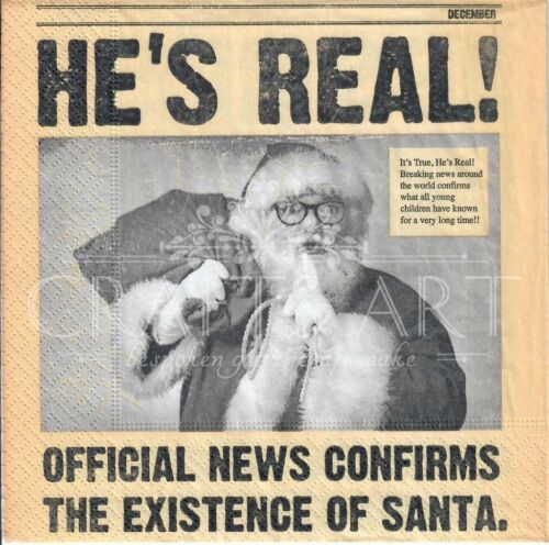 newspaper  -X120 4 Single paper decoupage napkins Christmas Santa is real