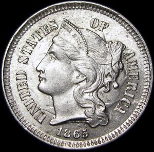 1865 Copper Nickel Three Cent Piece 3cp ---- GEM BU++ Condition Type coin #J856