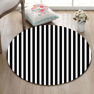 Black White Striped Round Rug Non Slip Carpet Yoga Mat Rugs Floor