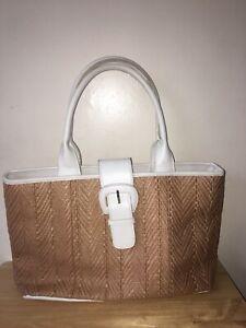 Debenhams-collection-Women-s-Ladies-faux-leather-white-summer-handbag-straw