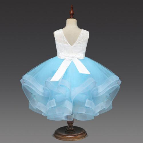 Flower Girls Party Tutu Dress Wedding Bridesmaid Princess Birthday Dress ZG8
