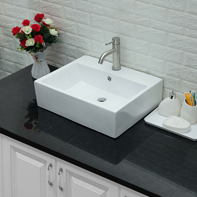 Ceramic 20 Wall Mount Bathroom Sink With Faucet And Overflow For Sale Online Ebay