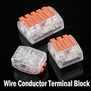 32 A Electrical Connectors Wire Block Clamp Lever Terminal Cable 240V Reusable