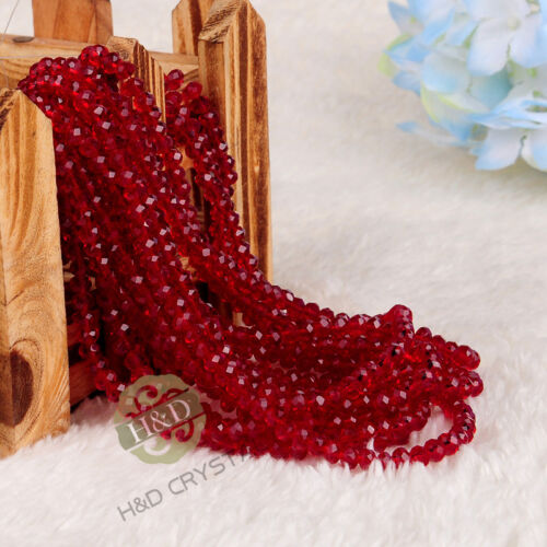 1500PCS Lot Dark Red Crystal Faceted Loose Beads Rondelle DIY Jewelry Making 4mm