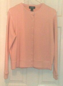 2-PC-PINK-KNIT-OUTFIT-Lauren-Ralph-Lauren-100-cotton-lt-jacket-sz-M-pants-PM-gt