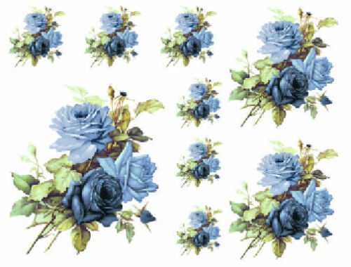 Vintage Image Blue English Roses Furniture Transfers Waterslide Decals FL529