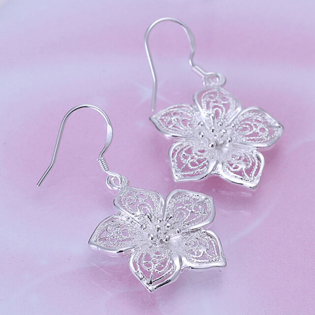 Women's Vintage Style Silver Plated Flower Earring Earrings Party Jewelry