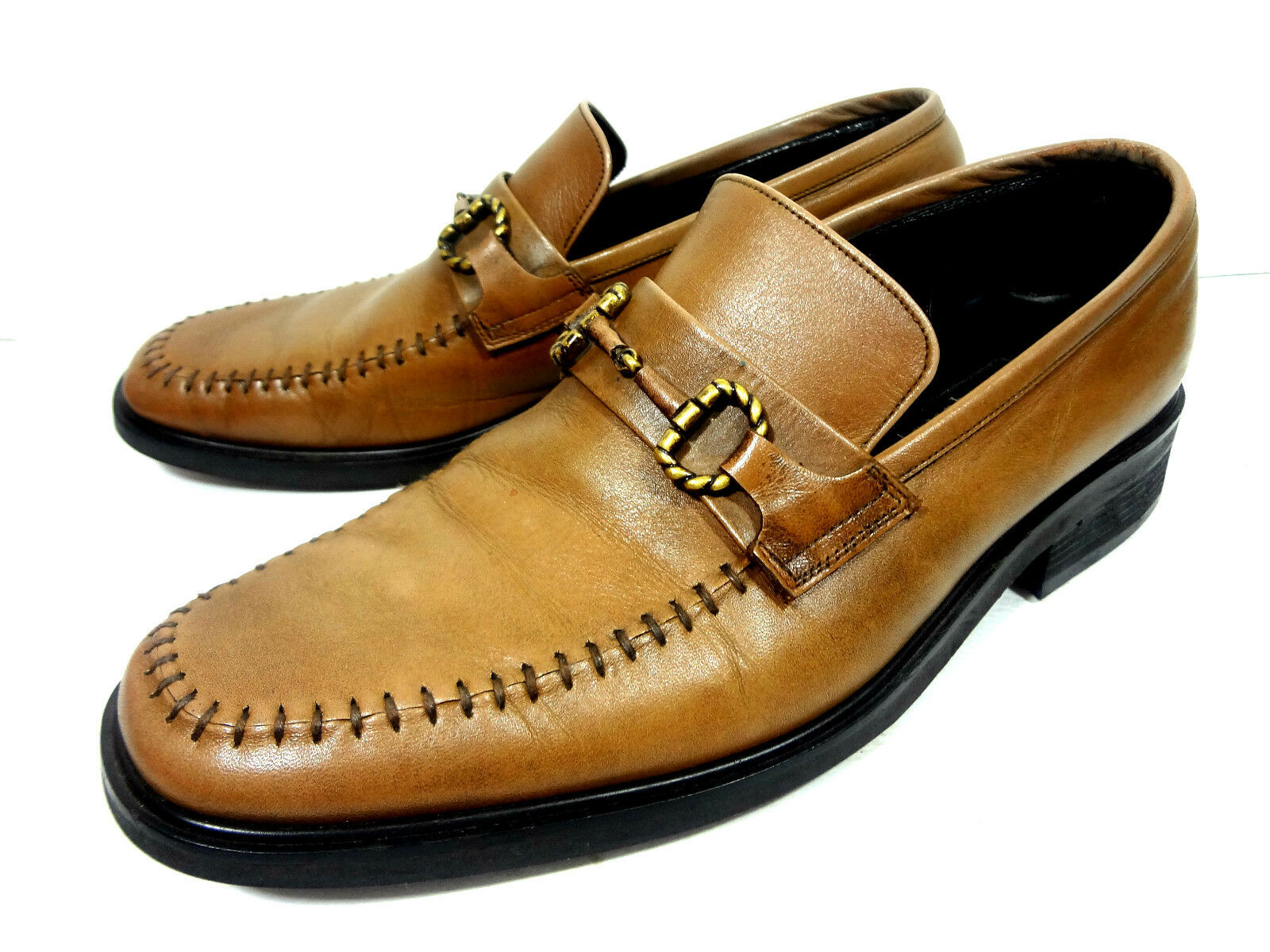 ESQUIRE MENS LOAFERS BRWON LEATHER SHOES SIZE 10 M
