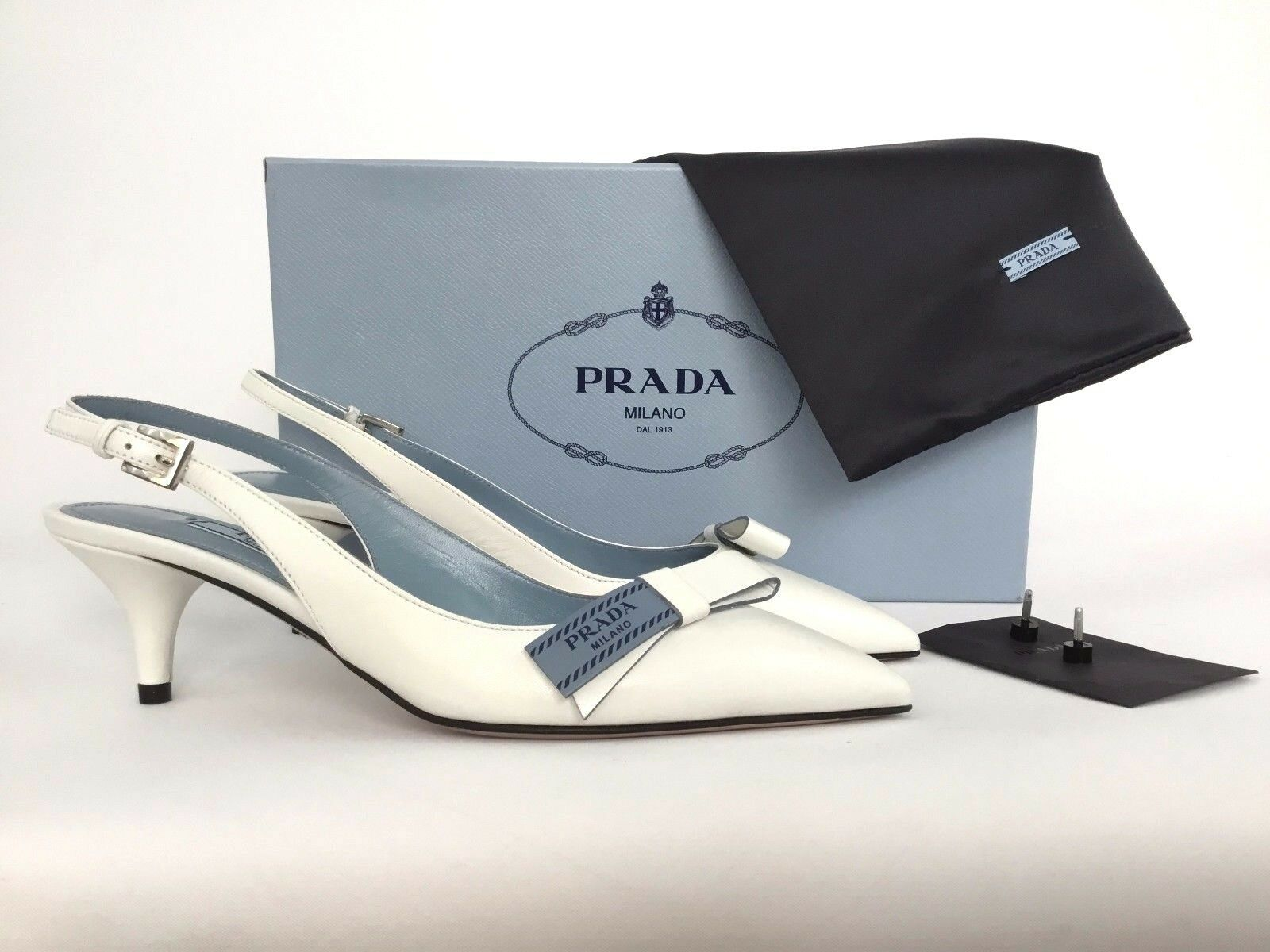 PRADA Logo Bow Bow Bow blanc Leather Slingback Pump 36   6 15e3e0