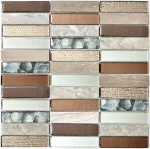 Détails sur Mosaïque rectangle pierre verre argent gris brun clair mur  87-68X_f   10 plaques