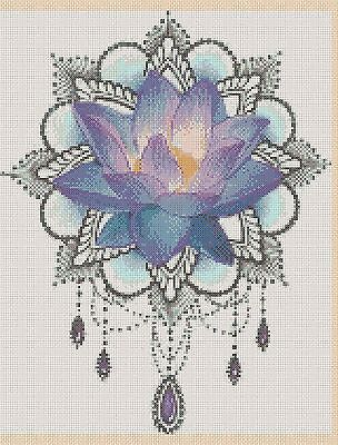 420  Cross stitch chart FlowerPower37-uk Colourful flowers and butterfly no