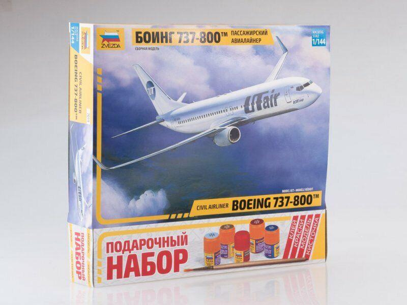 1 144 Gift set. Boeing 737-800 passenger airliner with glue, brush (Zvezda)