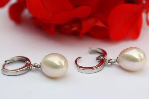 YR62 Süßwasser Perlen Schmuck Ohrringe Ohrstecker 925 Silber Creolen Ohrschmuck