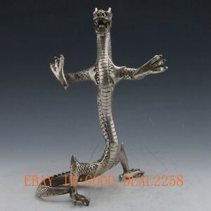 Chinese-Silver-Copper-Handwork-Carved-Dragon-Statue