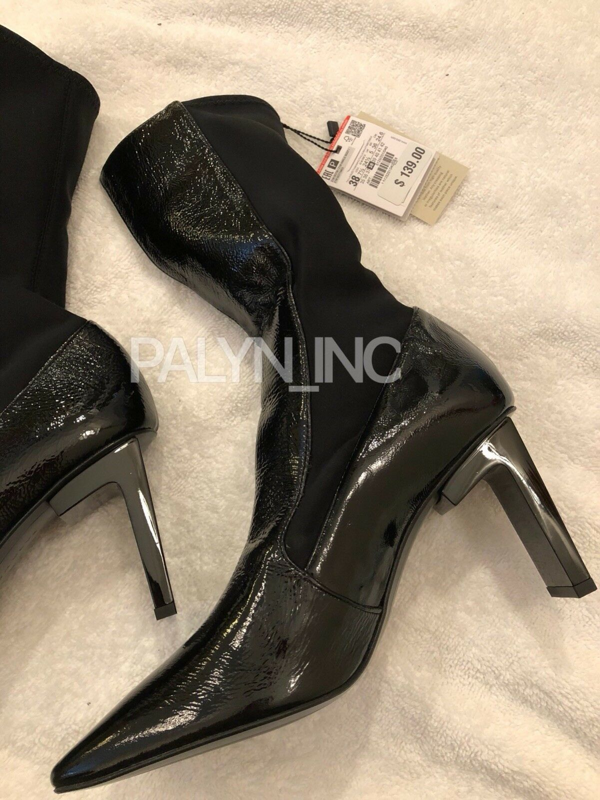 NWT ZARA SQUARE TOED HIGH HEEL LEATHER ANKLE BOOTS REF. 5125 201_EUR38 US7.5
