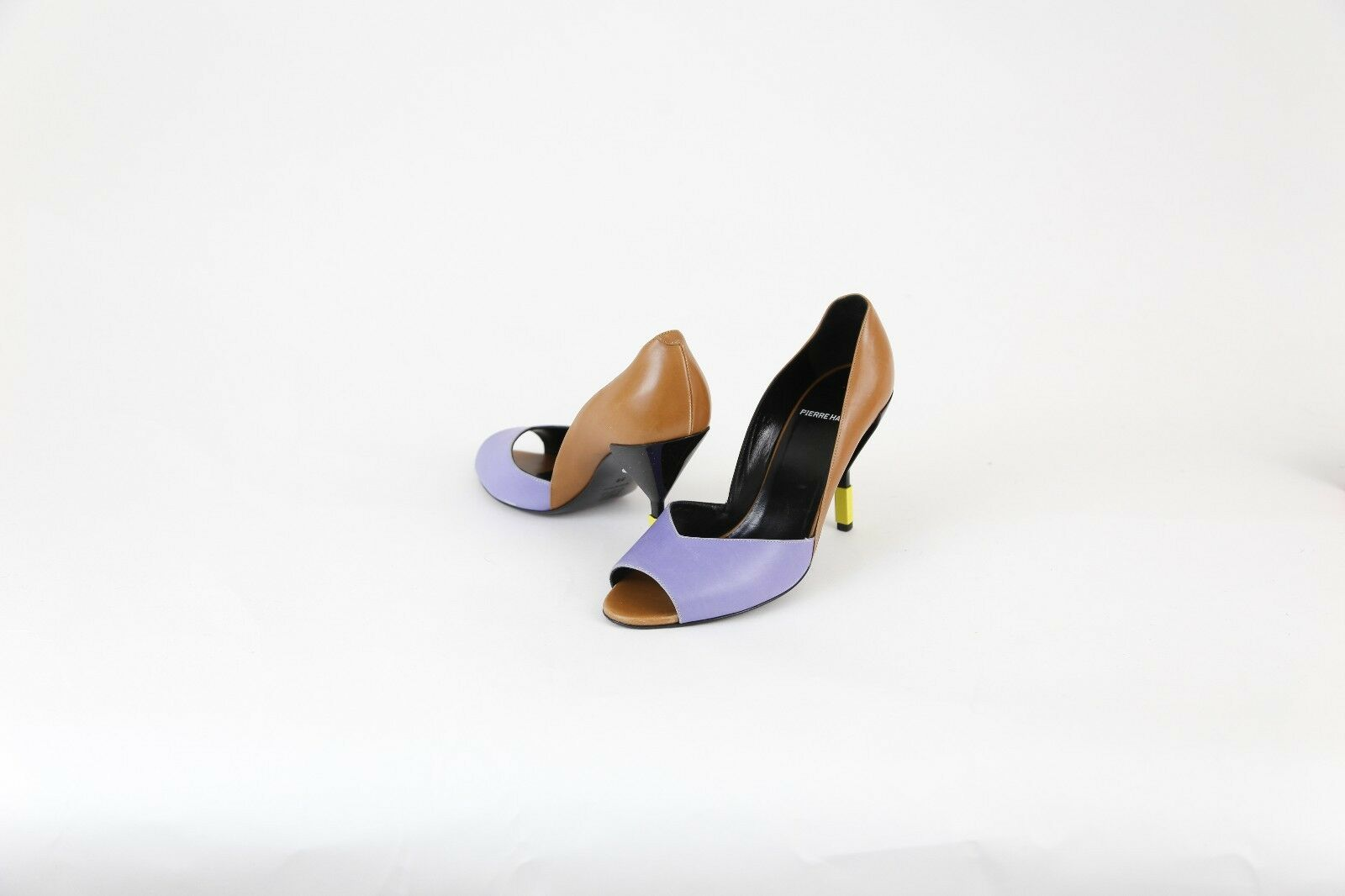 New Pierre Hardy Brown & Purple Leather 4  High Heels Pumps shoes 8 38  940