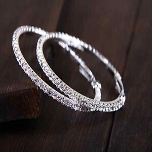 Women-Crystal-Diamante-Rhinestone-Silver-Plated-Hoop-Round-Earring-Jewelry-Hot