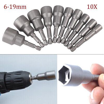 Steckschlüssel Bit 10tlg Satz Sechskant 6-19mm Stecknuss Magnetisch Bits Nuss