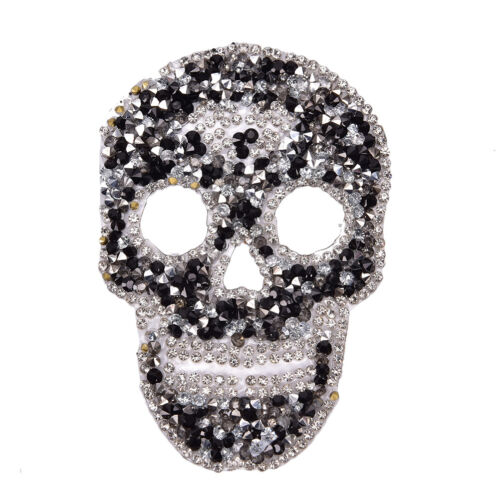 1Pcs Rhinestones skull Embroidered Patch Iron on Sewing Crystal Applique Pip UK